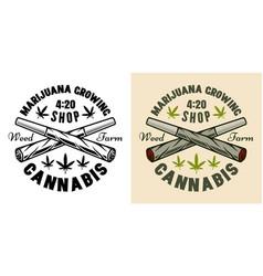 two crossed weed joints marijuana emblem vector image