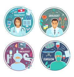 Urologist oncologist surgeon medical icons vector