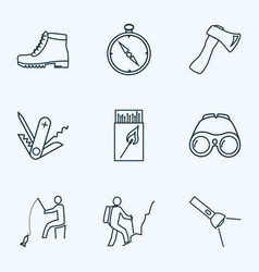 Vacation icons line style set with matchbox axe vector