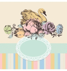 Vintage background flowers and swan frame retro vector image