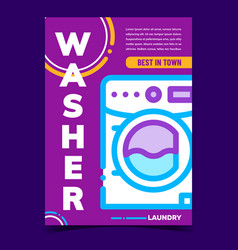 washer laundry machine advertising banner vector image