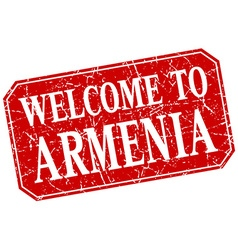 Welcome to Armenia red square grunge stamp vector