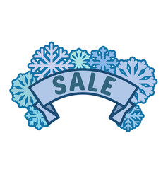 winter sale sign on ribbon with blue snowflakes vector image