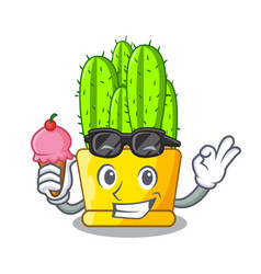 With ice cream cereus cactus bouquet on character vector