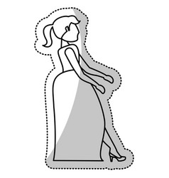Woman bride wedding outline vector
