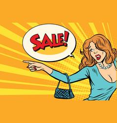 woman indicates sales vector image