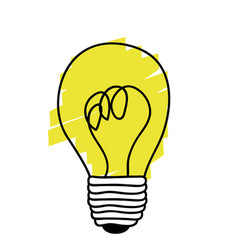 Yellow sticker paint bulb icon vector