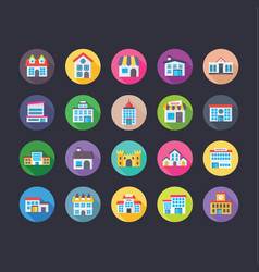 buildings flat icons set vector image