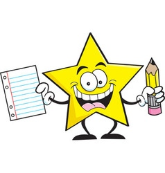 Cartoon star holding a paper and pencil vector image vector image