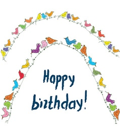 Happy birthday birds card with unusual funny vector image vector image