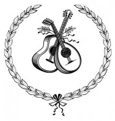 laurel wreath with instruments vector image vector image