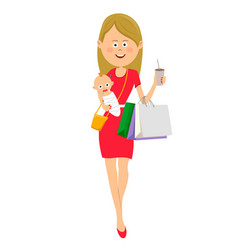 young mother walking with baby and shopping bags vector image vector image