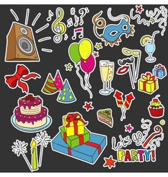 Colored sketch party objects hand-drawn vector image vector image