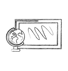 contour school board with earth planet desk vector image