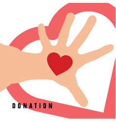 donation with heart on hand in color vector image