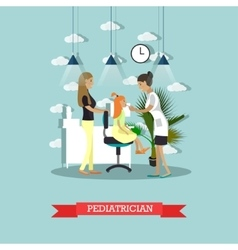 Hospital concept pediatrician provides medical vector