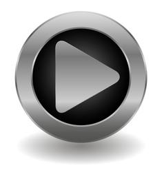 Metallic play button vector image