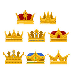set of king or queen golden crown icon vector image