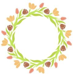 Tulip Wreath Frame vector image vector image