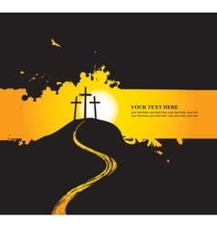 Christian themes with three crosses vector image vector image