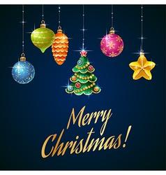 Flash christmas tree blue vector image vector image