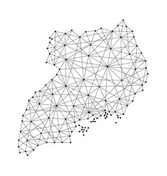 map of uganda from polygonal black lines and dots vector image vector image
