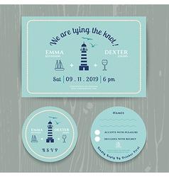 Nautical light house wedding invitation and rsvp vector