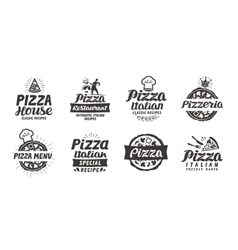 Pizza set logo label element Pizzeria vector image vector image