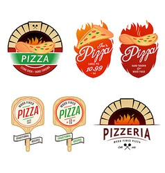 Vintage pizzeria labels badges design elements vector image vector image