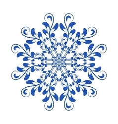 Blue floral Russian national ornament in vector image