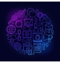 Blue seo and internet marketing vector