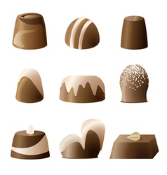Chocolate bonbon set vector image vector image