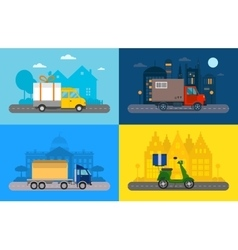 Delivery transport truck van and vector image
