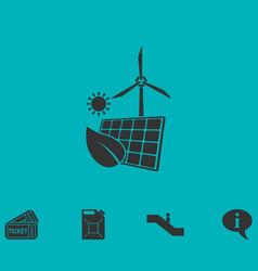 Eco power icon flat vector