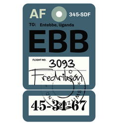entebbe airport luggage tag vector image