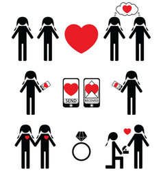 Gay women falling in love and engagement icons set vector image vector image