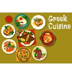 Greek cuisine dishes with fish and lamb icon vector image