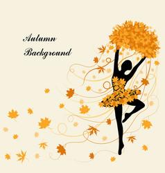 Tender ballerina is holding maple leaves vector