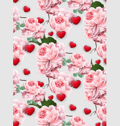valentines day pattern roses and hearts vector image vector image