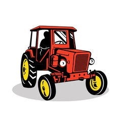 vintage tractor on isolated background vector image