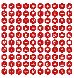 100 nature icons hexagon red vector