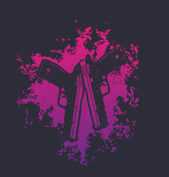 2 pistols on grunge splash two crossed handguns on vector image