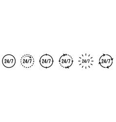 24 7 service icon set line art style vector
