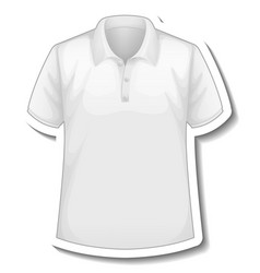 A sticker template with front white polo shirt vector