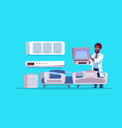 African american doctor check hospital ward vector