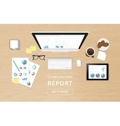 analytics process on work desk top view vector image