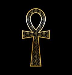 Ankh cross with flower life pattern goldblack vector