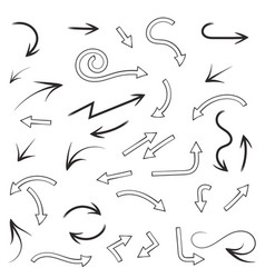 arrows set compilation of black and outline icons vector image