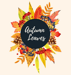 Autumn card with leaves vector