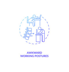 Awkward working postures concept icon vector